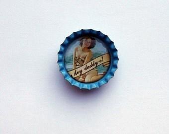 Rockabilly Pin Up Blue Bottlecap Magnet