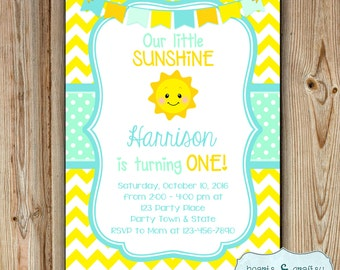 You Are My Sunshine Birthday Invitation / Sunshine Birthday Party Invitation / Sunshine Blue Baby Shower Invitation - FILE to PRINT