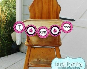 Pink Ladybug Highchair Banner / I Am ONE / First Birthday Banner Printable / Ladybug Birthday - FILE to PRINT diy