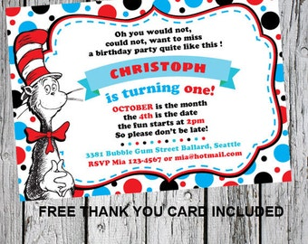 Dr seuss invitation - Dr seuss 1st birthday party - Dr seuss birthday - Cat in the hat birthday - Cat in the hat invite - Printable invite