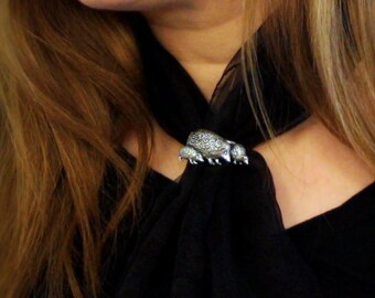 Hedgehog Family Scarf Ring, English Pewter, Handmade in Great Britain (ab)