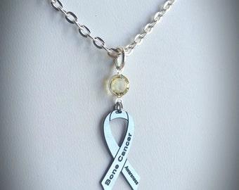 Bone Cancer Awareness Necklace, w/ Swarovski Austrian Crystal, Ribbon Jewelry, Support Survivor Charity