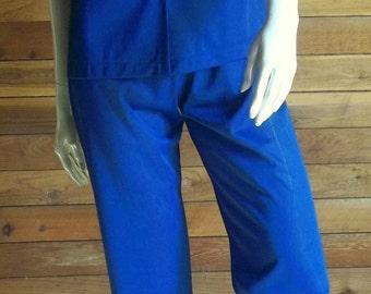 Vintage Lingerie 1970s VASSARETTE Navy Blue Sz Small Pajamas ~ Has Tags