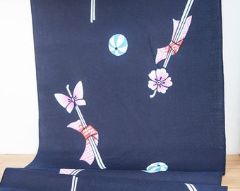 Dark Blue Butterfly and Flower Kanzashi and Candy Pattern Vintage Cotton Yukata Fabric  (1 meter)