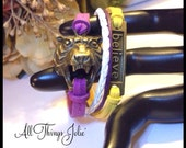 LSU Bronze Tiger Believe Leather/Cotton Cord Wrap Sport Theme Bracelet