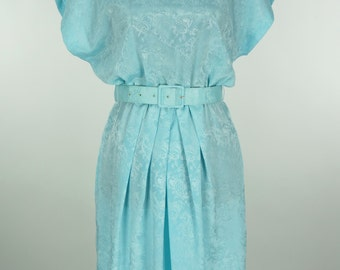 Vintage 1980s does 1940s Robin's Egg Blue Dress by Henry Lee Petites Size M