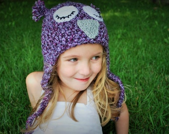Chunky Sleepy Owl Hat with Earflaps and Tassels, Purple