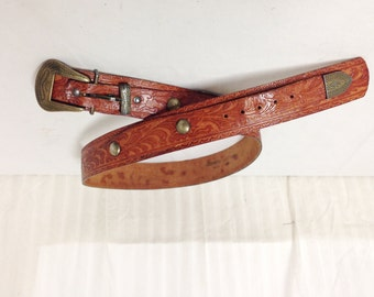 """Tooled Leather Belt,concho belt, brown leather,Western Buckle,32"""""""
