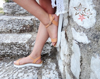 Demeter Sandals/Genuine Greek Leather/High Quality Leather/Natural Color/Slingback Slides Strap/Stripes Handmade Leather