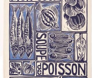 fish gift idea-recipe on tea towel-seaside gift-fish cook-french fish-angler-marine life-salmon-recipe towel-foodie gift ideas-fish lino cut