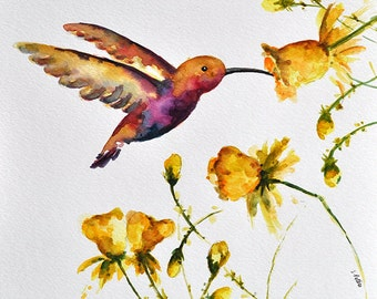 ORIGINAL Watercolor Bird Painting, Hummingbird With Yellow Flowers, Golden Yellow 10x10 Inch