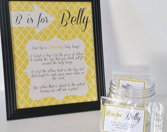 B is for Belly Game, Gender Neutral Baby Shower Game,  Measure the Belly Game, Yellow Shower Decor, Shower Centerpiece, Shower Game