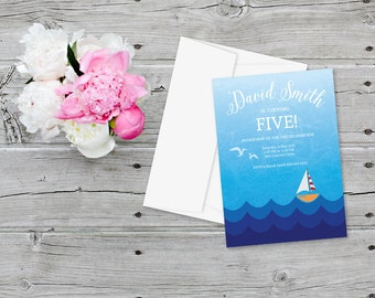 Boy Birthday Party Printable Invitation Sailing Boat in the Sea