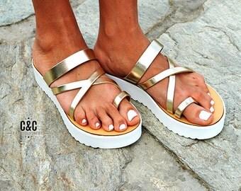 "Leather women gold Sandal shoes ""Traveller"" , toe-wrapper sandal, leather shoes, greek sandals,"