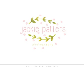 Watercolor DIY Business Logo, Pastel, photography, watermark, paint, floral design, Branches, laurel logo, nature, pastels, newborn logo