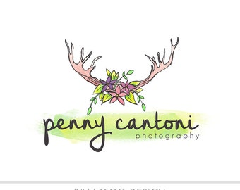 CLEARANCE - Watercolor DIY Business Logo, Pastel, photography, watermark, paint, floral, Branches, laurel logo, nature, antlers, flowers