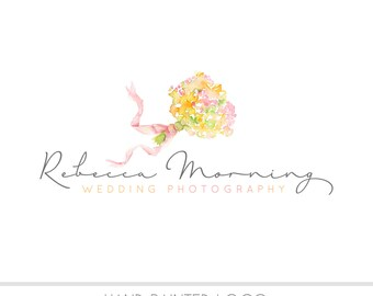 CLEARANCE - Watercolor Logo - Floral Bouquet Watermark Business Logo -  Wedding, Flowers, Newborn, vintage, pastel, Photography