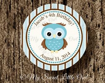 Owl cupcake topper - blue owl birthday party - Owl baby shower - Owl sticker -  blue owl printable - Owl tag - boy owl label