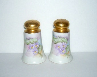 Vintage Pansy Hand Painted Porcelain Salt and Pepper Shakers