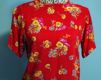 Vintage Sag Harbor Petite Short Sleeve Thin Soft Floral Shirt/ Small
