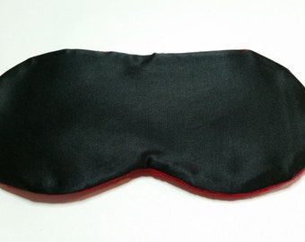 Black Satin & Red Minky Sleep Mask