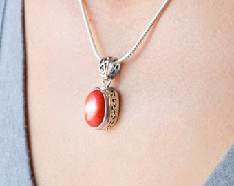 Detailed Red Coral Pendant