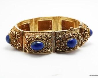 Vintage Bracelet Sterling Silver Lapis Filigree Gold Wash Natural Blue Chinese Export