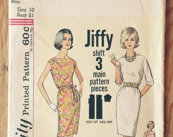 1963 Straight dress pattern, Simplicity 4947, miss size 10, bust 31, Simple to Make shift, bateau boat neck dress, vintage sewing supply
