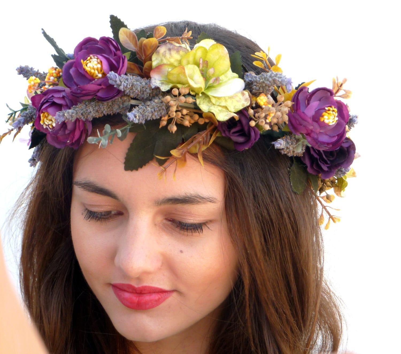 Flower Crown Purple: Flower Crown Purple Headpiece Lavender Headband By DelosArtist
