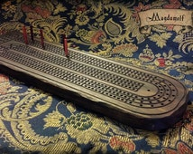 Wooden Cribbage (Crib) Game, antique faux finish