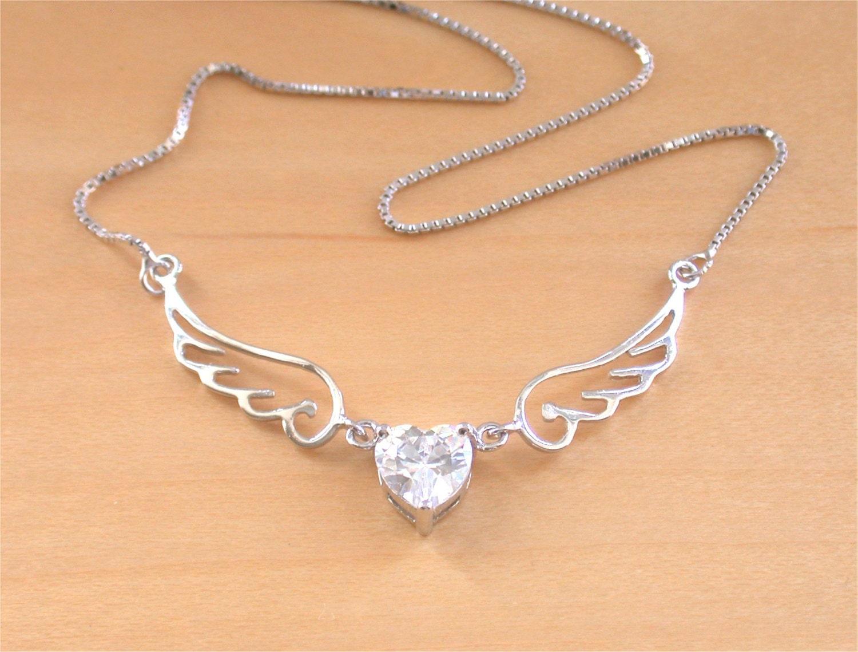 925 angel wing necklace crystal zirconia angel necklace angel. Black Bedroom Furniture Sets. Home Design Ideas