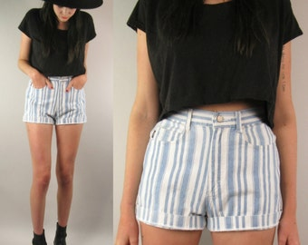Striped Denim High Waisted Shorts