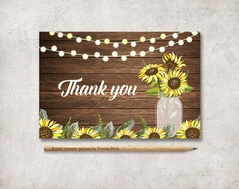 Thank you Card Printable, Sunflower Thank you Card, Rustic Mason Jar Thank you Card, Wedding Thank you Card, Shower Thank you Card, Digital