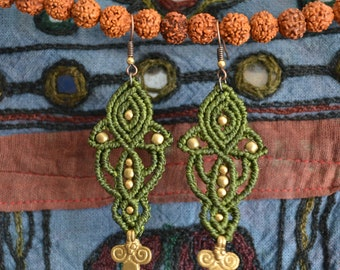"""Macrame earrings """"Lotus Rising"""" with tribal brass charms and beads"""
