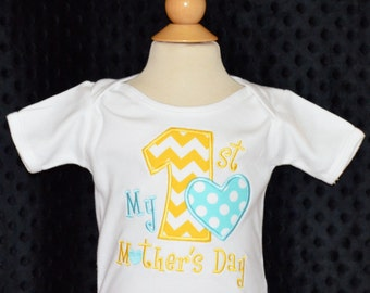 Personalized My 1st Mother's Day Applique Shirt or Onesie Girl or Boy