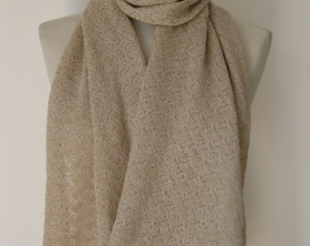 Handmade cashmere scarf/ knitted cashmere scarf/ cashmere+lurex scarf/ patterned scarf/ womans scarf/ pale gold sparkle scarf