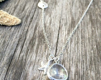 starfish necklace with sand dollar crystal gemstone 925 sterling silver necklace crystal jewelry beach jewelry bridesmaid gift april