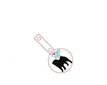 I Love My PUG - In The Hoop - Snap/Rivet Key Fob - DIGITAL Embroidery Design