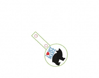 I LOVE My Manx Kitty - Rescue Cat - In The Hoop - Snap/Rivet Key Fob - DIGITAL Embroidery Design