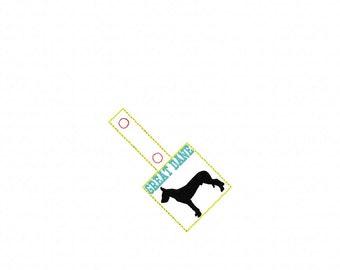 GREAT DANE - In The Hoop - Snap/Rivet Key Fob - DIGITAL Embroidery Design