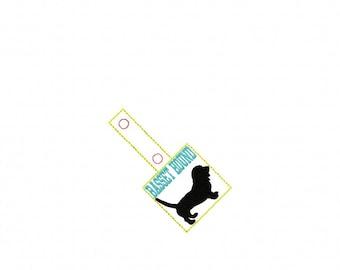 BASSET Hound - DOG - In The Hoop - Snap/Rivet Key Fob - DIGITAL Embroidery Design