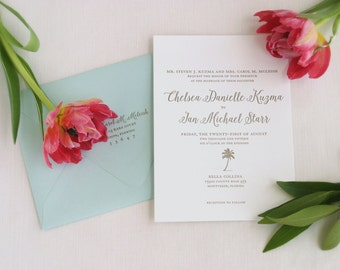 Coastal Letterpress Wedding Invitation