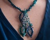 Teal Green & Navy Blue Leaf Peyote Seed Bead Forest Elf Necklace   Glass, Swarovski Crystal, Sterling Silver