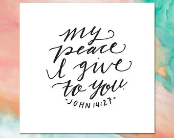 Greeting card + John 14:27 stationery + INSTANT DOWNLOAD