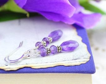 CLEARANCE Amethyst Earrings, Purple Gemstone Drop Earrings, Sterling Silver Simple Gemstone Dangle Earrings, February Birthstone