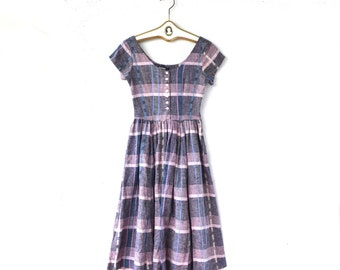 Vintage 50s 60s Plaid Gingham Day Dress // Checkered Pink Blue Dress