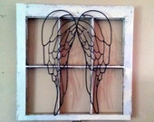 Lowest shipping possible and 20% off listing! Old rustic  window frame with large angel wings