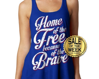 4TH Of JULY TANK - Racerback - Home of the Free - Memorial Day - Ladies Tank - Usa - American Flag - Independence Day - s -  xxl