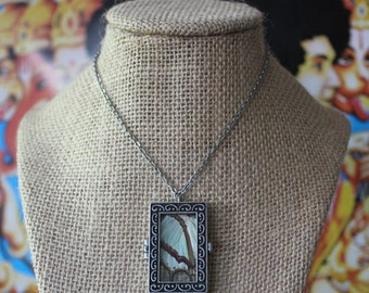 SALE Large Glass Window Locket with Chinese Nawab Butterfly Wing