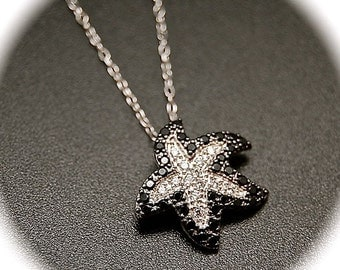 Black and Silver Swarovski Crystal Starfish Necklace